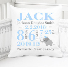 Boys Birth Announcement Pillow Personalized with Baby's Stats – Navy Blue Elephant - Elise