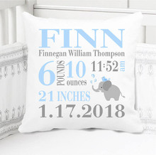 Boys Birth Announcement Pillow Personalized with Baby's Stats – Navy Blue Elephant - Edwin