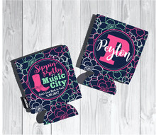 Koozies - Sippin Pretty in Music City - Pink and Navy floral