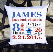 Boys Birth Announcement Pillow Personalized with Baby's Stats – Monster Nursery