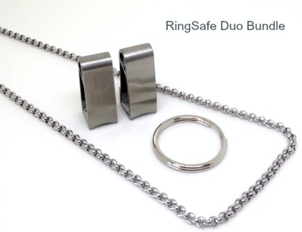 """RingSafe Duo Bundle includes 2 stainless steel RingSafes, a Link Chain in either 19.5"""" or 24"""" length and one standard keyring."""