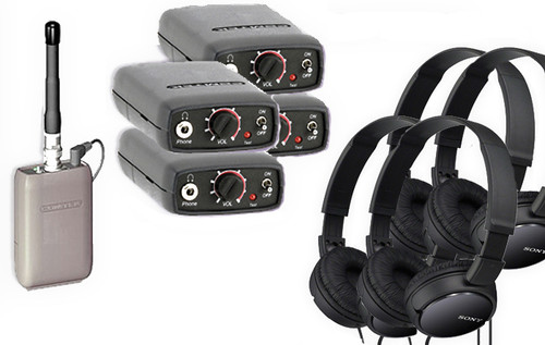 Comtek Bundle - Four Beltpack Receiver System with Sony Headphones