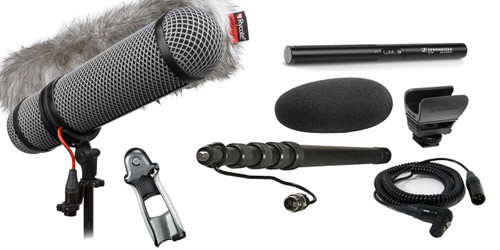 Sennheiser MKE600 Shotgun Mic W/ K-Tek KEG100CCR Graphite Cabled Boompole & Rycote Super-Blimp NTG Windshield Kit