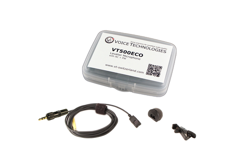 Voice Technologies VT500-ECO Miniature Omni Lavalier w/ Locking 3.5mm Connector for Sony UWP/WRT-805 - Black
