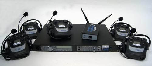 Clear-Com Tempest 4Ch Wireless Intercom w/ Transceiver and (5) 4-Ch BeltPacks & Headsets, 2.4GHz