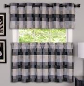 ... Harvard Grommet Top Kitchen Curtains   Black ...