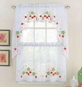 Good ... Strawberries Embroidered Kitchen Curtains ...