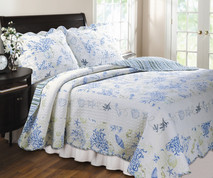 Coral Blue Quilt Set -Full/Queen