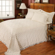 Diamond Chenille Pillow Sham Standard Size - Available in Beige or White