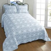 Rosa Bedspread Queen - Blue