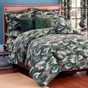 Camo Green Square Pillow - Dark