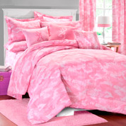 Camo Pink Square Pillow - Dark