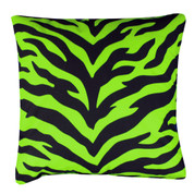 Lime Zebra Square Pillow