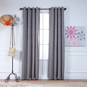 Adrian Grommet Top Curtain Panel - PEWTER