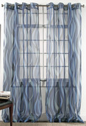 Retro Sheer Grommet Top Curtain Panel - Cobalt