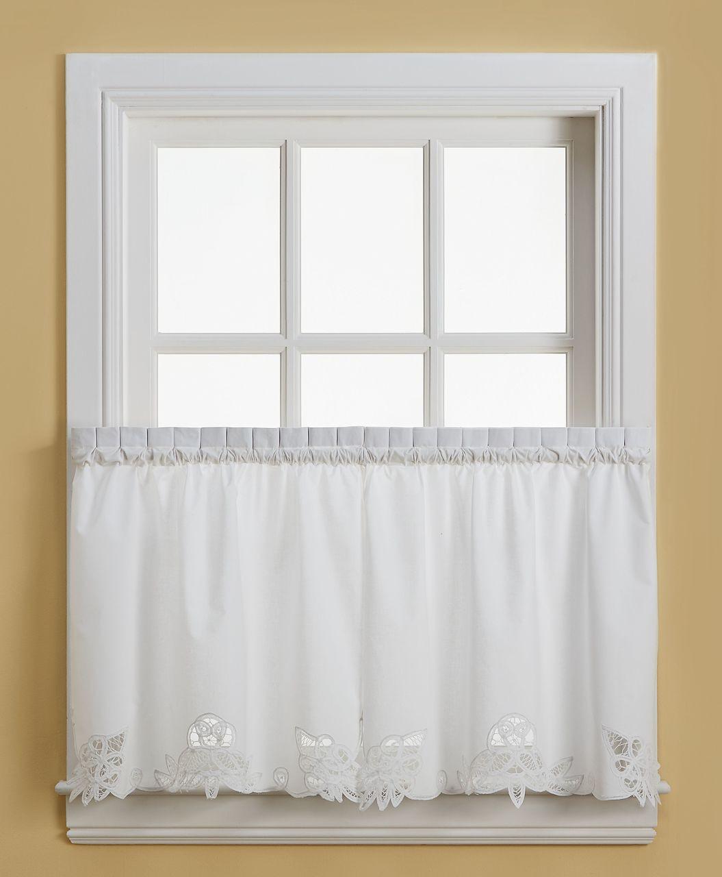 White Cotton Tiered Curtains Vintage Battenburg Kitchen Curtain Valance Swag Tier White