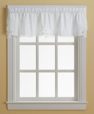 Battenburg Lace Cotton Kitchen Curtain Valance White
