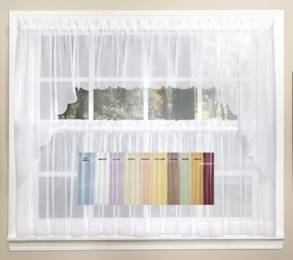 """New Kitchen Curtains For Less: Emelia Sheer Solid 36"""" Tier (pr)"""