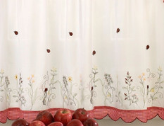"Ladybug Meadow 24"" kitchen curtain tier"