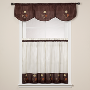 Rose Embroidered Valance - Chocolate Brown