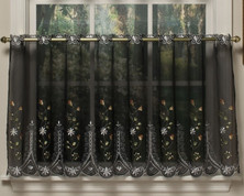 "Samantha 36"" kitchen curtain tier - Black"