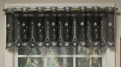 Samantha black embroidered kitchen curtain valance