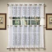 Samantha white embroidered kitchen curtain