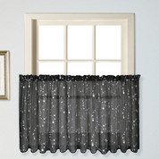 "Savannah kitchen curtain 24"" tier (pr) - Black"