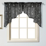 Savannah kitchen curtain Swag - Black