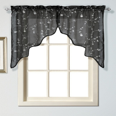 kitchen curtain swag black linens4less