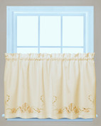 "Seabreeze kitchen curtain 24"" tier (pr) - Sand"