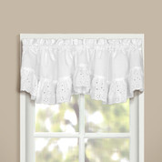 Vienna Eyelet Double Crescent Valance - White