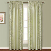 Addison Embroidered Rod Pocket Curtain Panel - SAGE