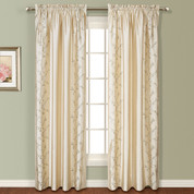Addison Embroidered Rod Pocket Curtain Panel - NATURAL