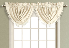 Anna Faux Silk Waterfall Valance - NATURAL