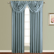 Anna Faux Silk Rod Pocket Curtain Panel - BLUE