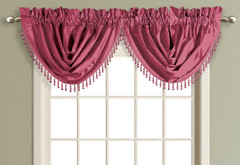 Anna Faux Silk Waterfall Valance - BURGUNDY