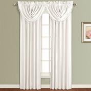Anna Faux Silk Rod Pocket Curtain Panel - WHITE