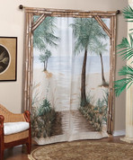 Bamboo Beach Rod Pocket Curtain Pair
