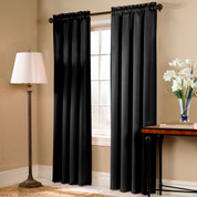 Blackstone Blackout Rod Pocket Curtain Panel - BLACK