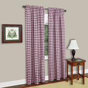 Buffalo Check Rod Pocket Curtain Panel - Burgundy