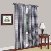 Buffalo Check Rod Pocket Curtain Panel - Navy