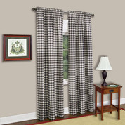 Buffalo Check Rod Pocket Curtain Panel - Chocolate
