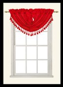 Elaine Fringed Valance - Red