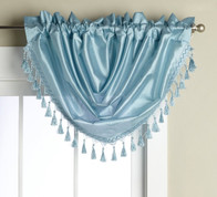 Elaine Fringed Valance - Light Blue