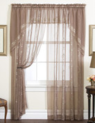 "Emelia Embroidered Sheer Curtain Panel 84"" long - Burgundy"