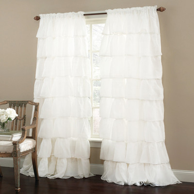 gypsy ruffled curtain panel white