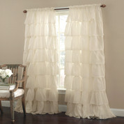 Gypsy Ruffled Curtain Panel - Cream