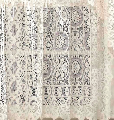 Hopewell Lace Curtain Panel 63 Quot Cream Linens4less Com