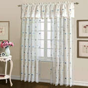 Loretta Embroidered Sheer Rod Pocket Curtain Panel - Blue